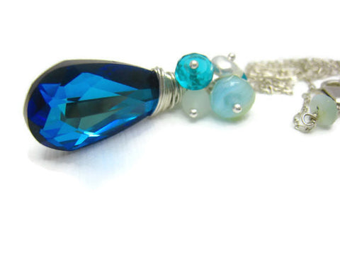 Bermuda Blue Swarovski Crystal Necklace - Sienna Grace Jewelry | Pretty Little Handcrafted Sparkles