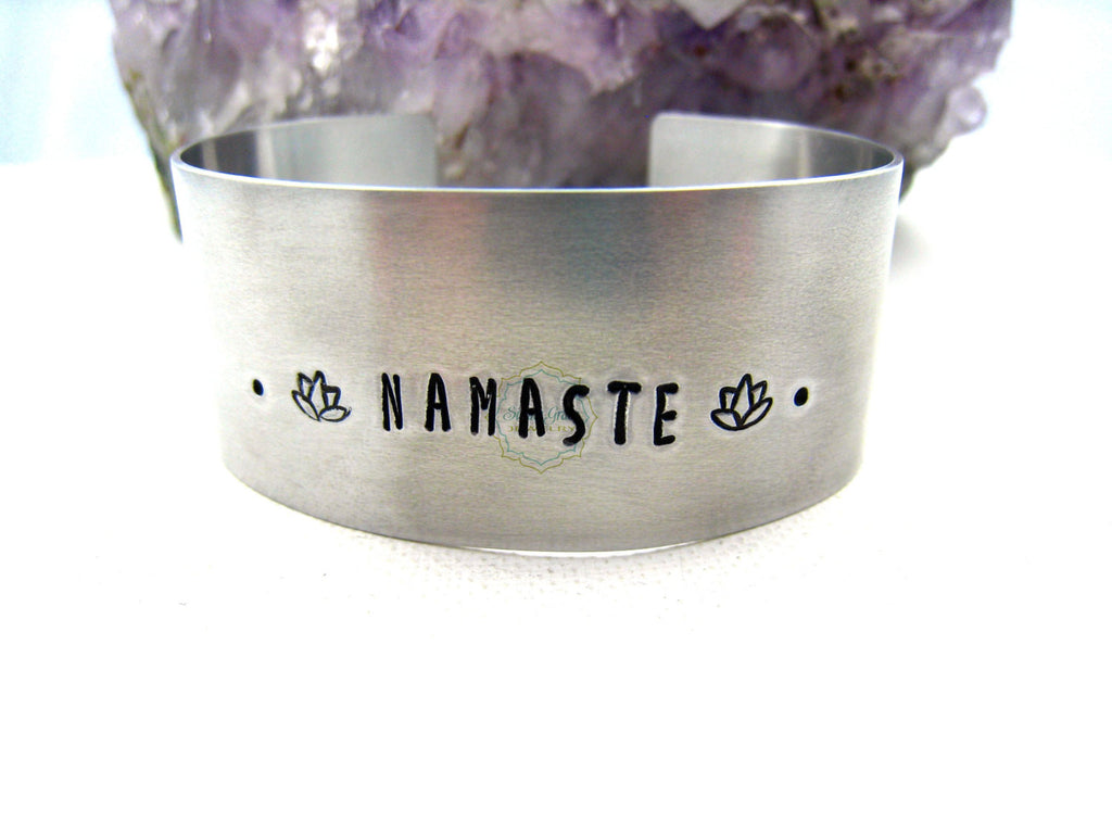 Namaste Cuff Bracelet Aluminum Yoga Jewelry - Sienna Grace Jewelry | Pretty Little Handcrafted Sparkles