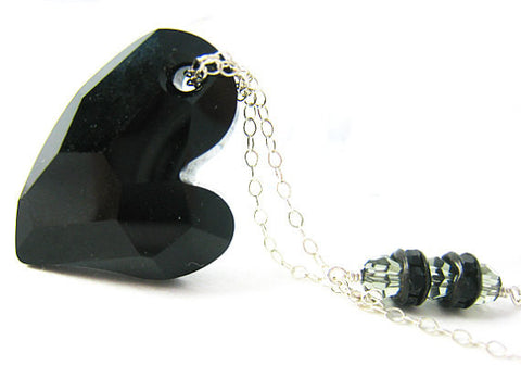 Anti Valentine Black Crystal Heart Necklace Tainted Love
