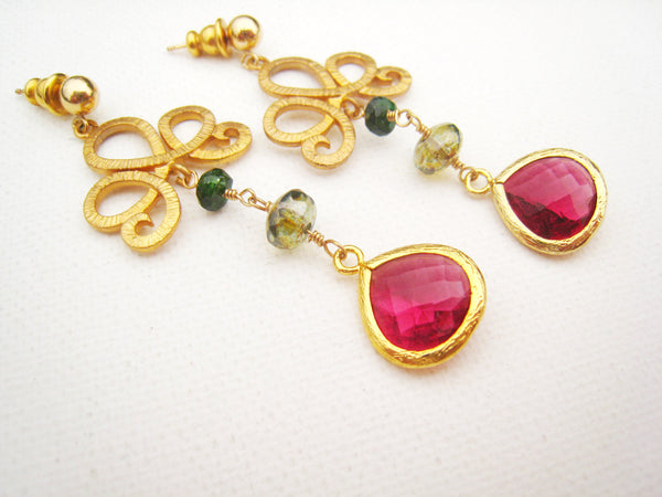 Magenta Colored Faceted Glass Earrings