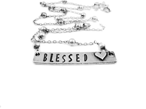 Blessed Necklace Hand Stamped Spiritual Jewelry