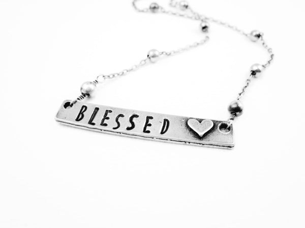 Hand Stamped Blessed Necklace Spiritual Jewelry