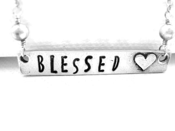 Blessed Necklace Hand Stamped Spiritual Jewelry - Sienna Grace Jewelry | Pretty Little Handcrafted Sparkles