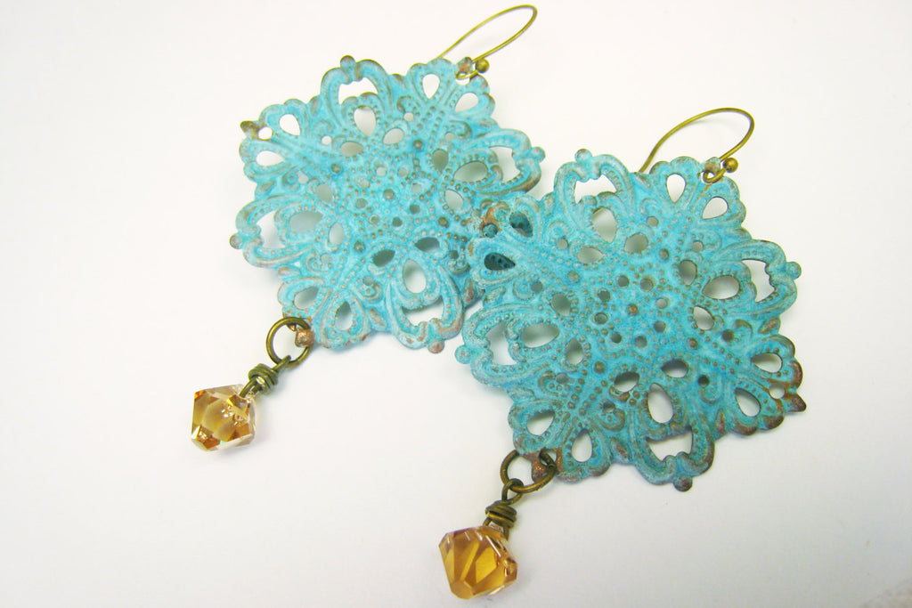 Verdigris Filigree Statement Earrings Boho Festival Style - Sienna Grace Jewelry | Pretty Little Handcrafted Sparkles