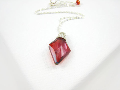 Swarovski Red Crystal Rhombus Pendant Necklace - Sienna Grace Jewelry | Pretty Little Handcrafted Sparkles
