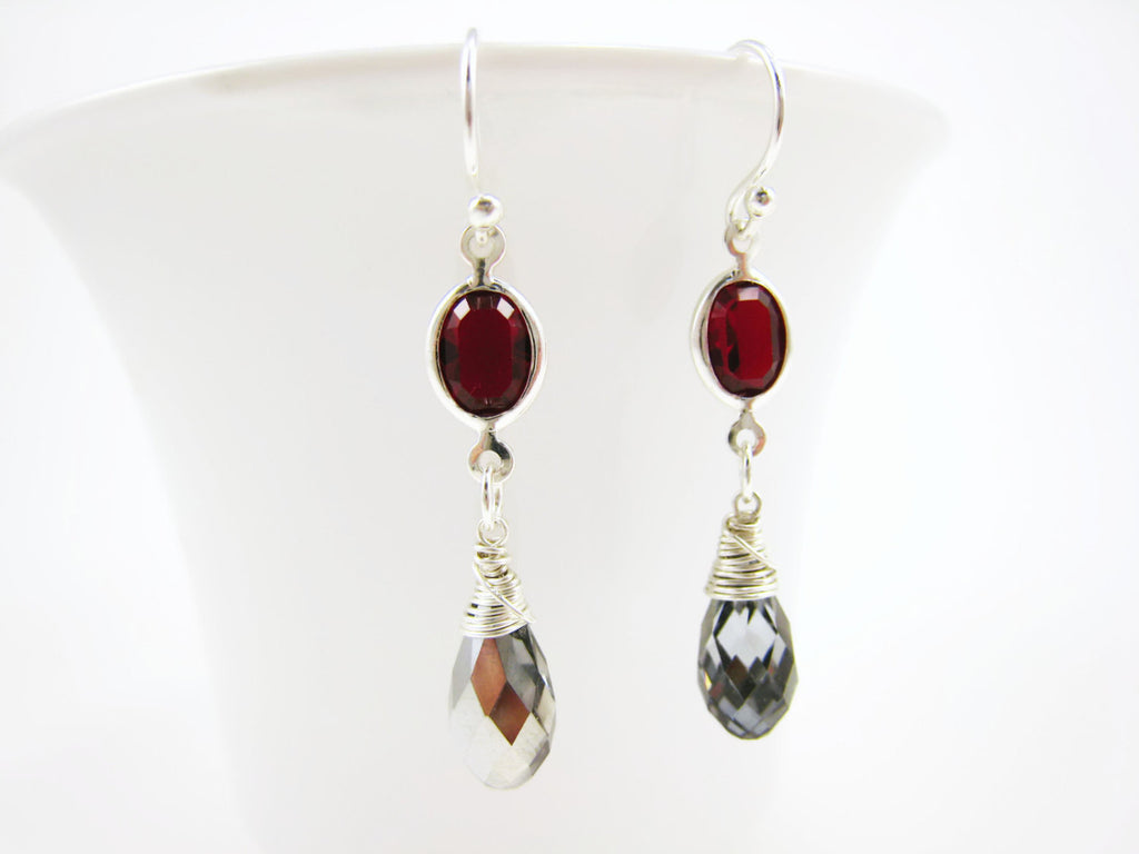 Silver and Red Swarovski Crystal Drop Earrings