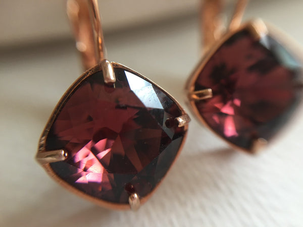 Burgundy Swarovski Crystal Earrings - Sienna Grace Jewelry | Pretty Little Handcrafted Sparkles