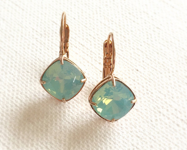 Turquoise Swarovski Crystal Square Cut Earrings - Sienna Grace Jewelry | Pretty Little Handcrafted Sparkles