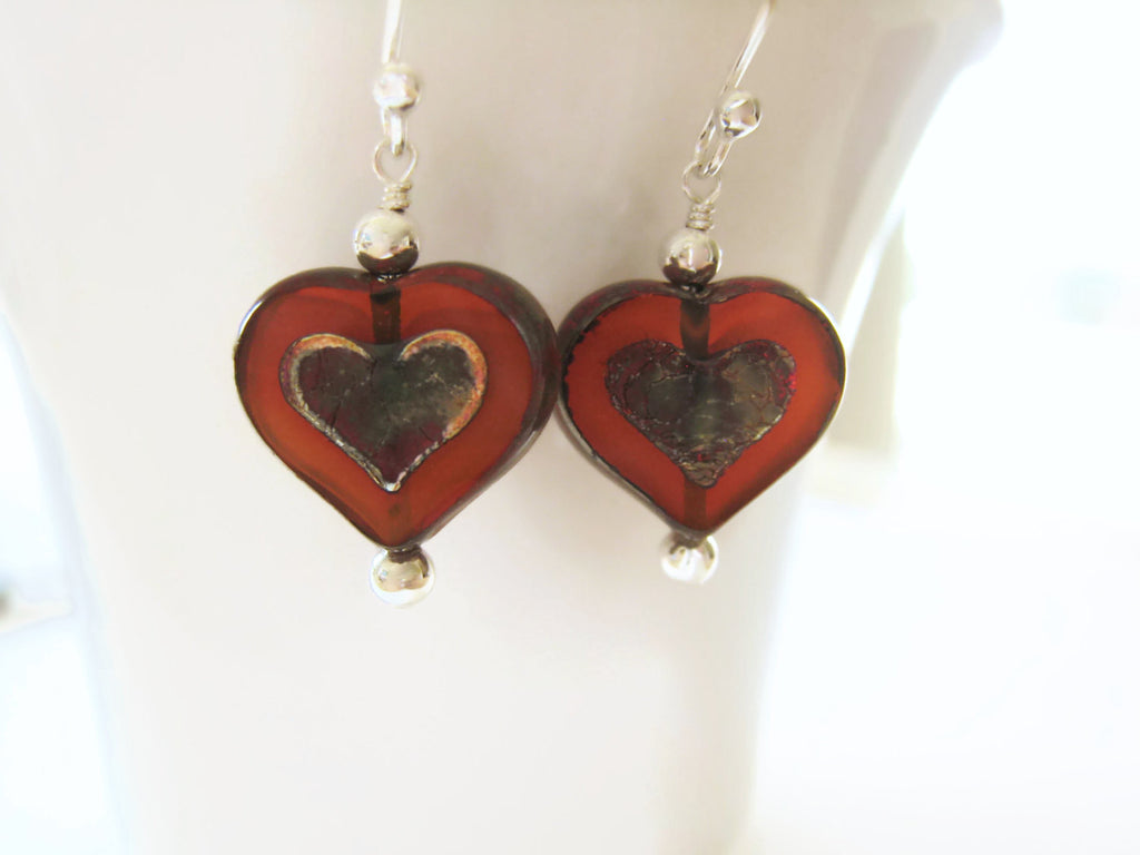 Czech Glass Amber Heart Earrings - Sienna Grace Jewelry | Pretty Little Handcrafted Sparkles
