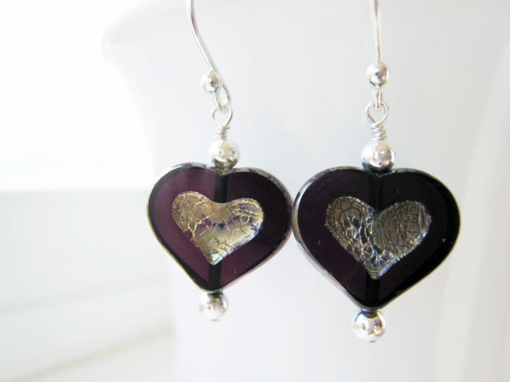 Purple Czech Glass Heart Earrings - Sienna Grace Jewelry | Pretty Little Handcrafted Sparkles