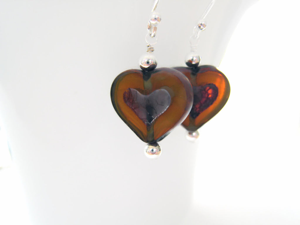 Yellow Czech Glass Heart Earrings