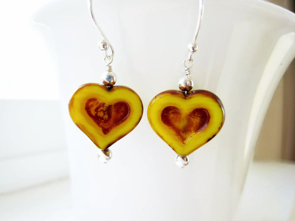 Valentines Day Yellow Czech Glass Heart Earrings - Sienna Grace Jewelry | Pretty Little Handcrafted Sparkles