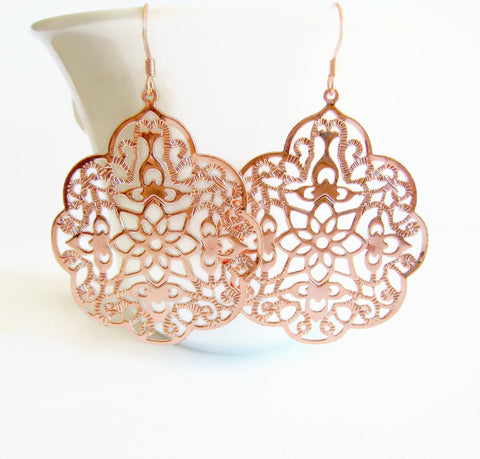 Rose Gold Lacy Filigree Style Earrings - Sienna Grace Jewelry | Pretty Little Handcrafted Sparkles