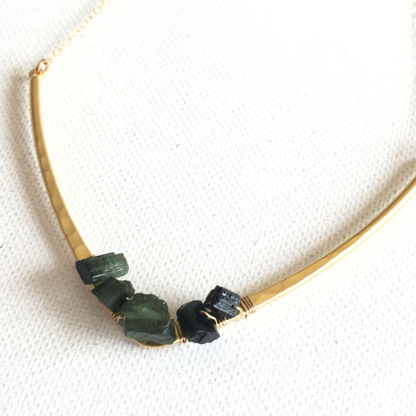 Organic Nugget Necklace Raw Petrol Tourmaline - Sienna Grace Jewelry | Pretty Little Handcrafted Sparkles