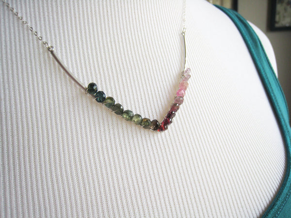 Watermelon Tourmaline Necklace Minimalist Style - Sienna Grace Jewelry | Pretty Little Handcrafted Sparkles