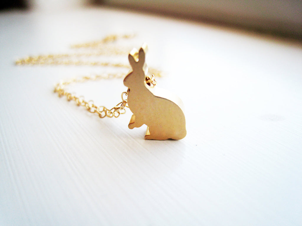 Little Gold Bunny Rabbit Necklace-Sienna Grace Jewelry
