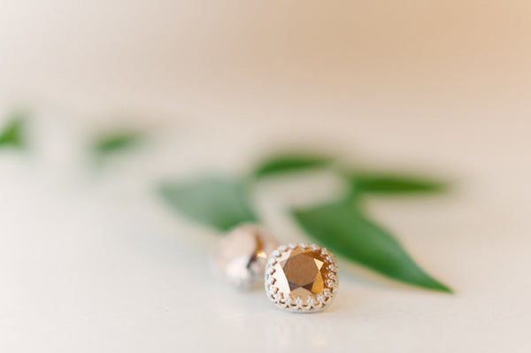 Swarovski Rose Gold Crystal Post Style Earrings - Sienna Grace Jewelry | Pretty Little Handcrafted Sparkles