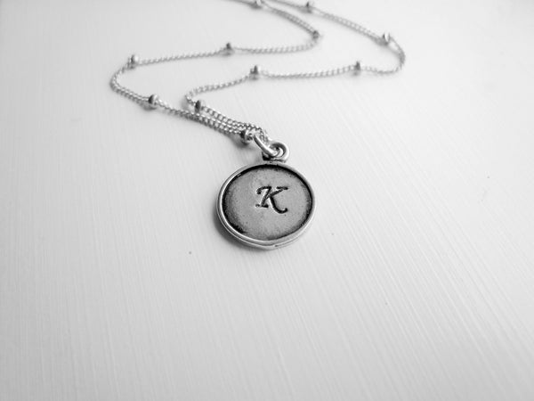 Hand Stamped Tiny Initial Necklace