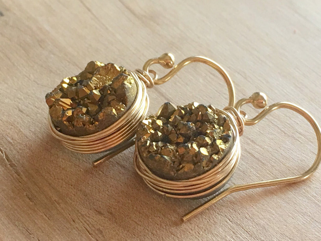 Gold Druzy Quartz Earrings Drop Dangle Style - Sienna Grace Jewelry | Pretty Little Handcrafted Sparkles
