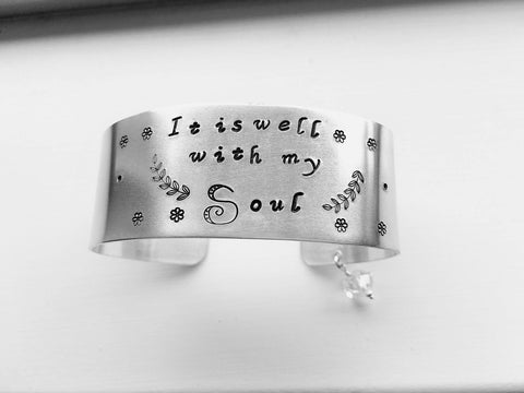 It Is Well With My Soul Hand Stamped Cuff Bracelet - Sienna Grace Jewelry | Pretty Little Handcrafted Sparkles
