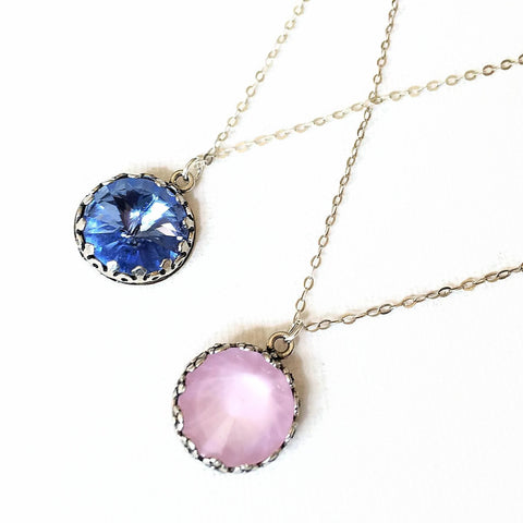 Swarovski Pink Rose Crystal Necklace - Sienna Grace Jewelry | Pretty Little Handcrafted Sparkles