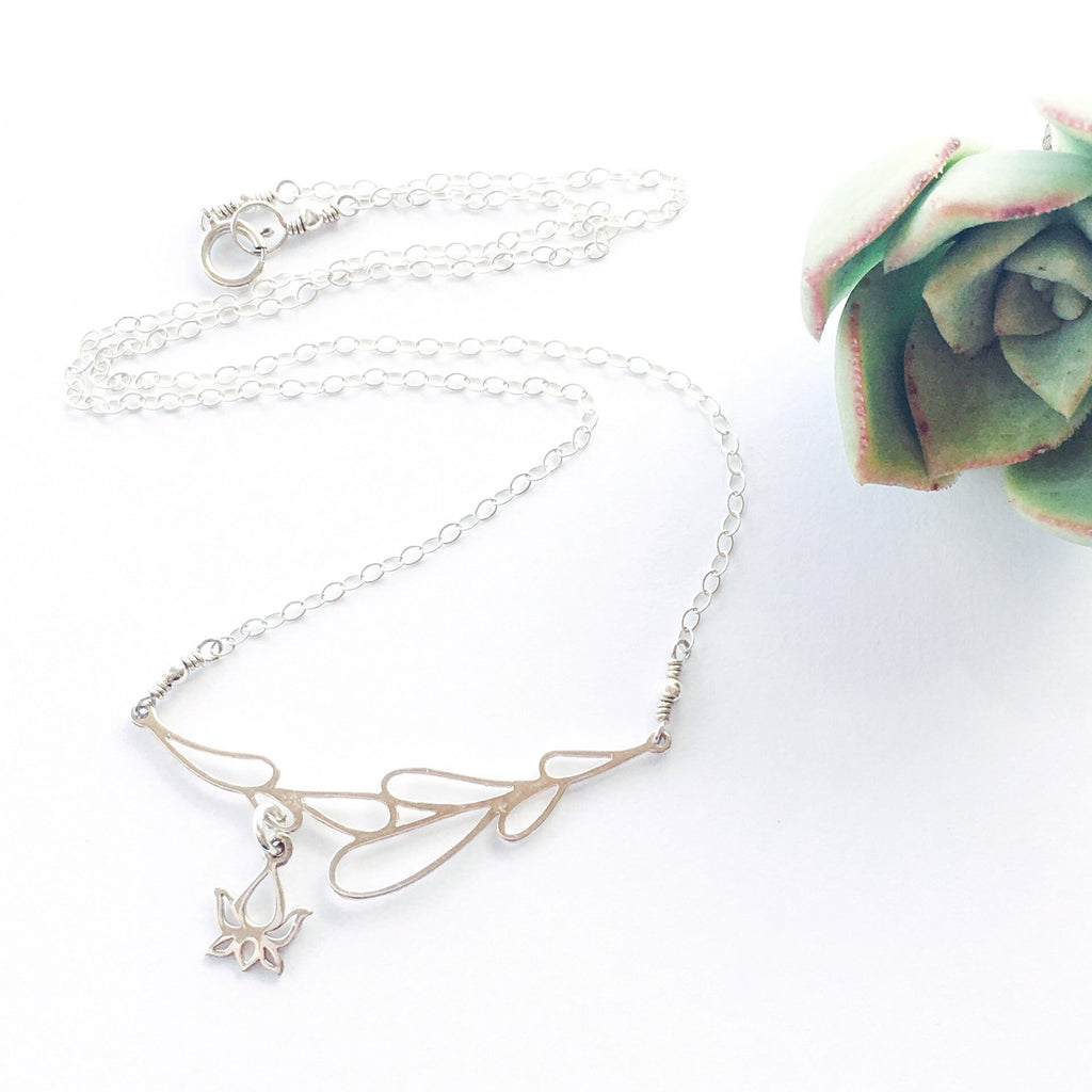 Sterling Silver Lotus Flower Necklace Yoga Jewelry Pretty Little