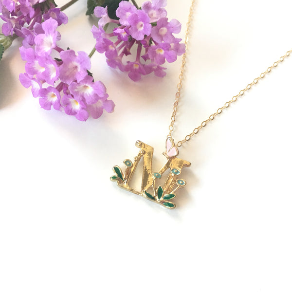Gold Initial Necklace with Enamel - Sienna Grace Jewelry | Pretty Little Handcrafted Sparkles