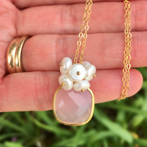 Pink Chalcedony With Button Pearls 14 k Gold Filled - Sienna Grace Jewelry