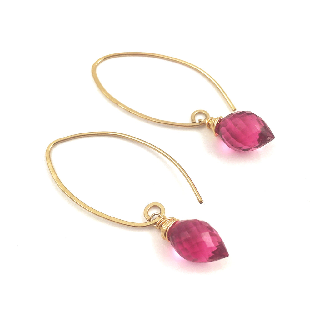 Rubellite Pink Quartz Gold Filled Earrings