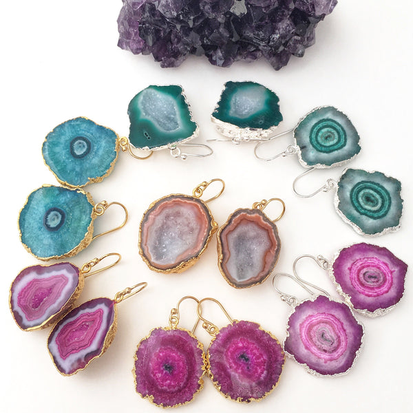 Natural Purple Geode Druzy Earrings Gold Electroplated 24 k