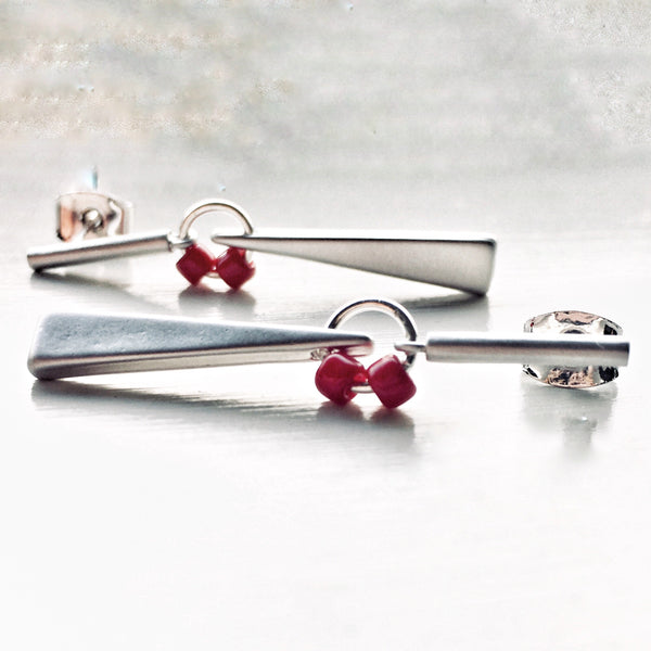 Linear Bar Earrings Matte Silver - Sienna Grace Jewelry | Pretty Little Handcrafted Sparkles
