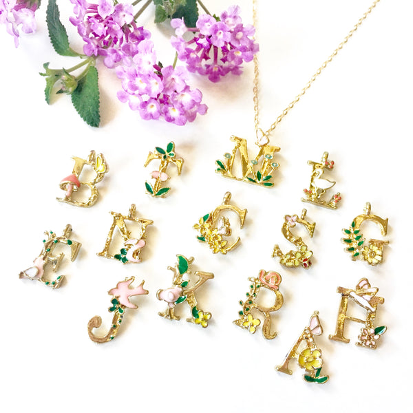 Gold Initial Necklace Enamel Alphabet Jewelry Springtime