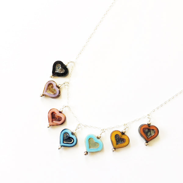 Heart Necklace Czech Glass Valentines Day Gift - Sienna Grace Jewelry | Pretty Little Handcrafted Sparkles