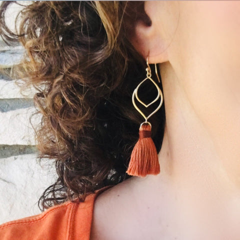 Tassel Earrings Gold or Silver Colors of Fall Bohemian Style - Sienna Grace Jewelry | Pretty Little Handcrafted Sparkles
