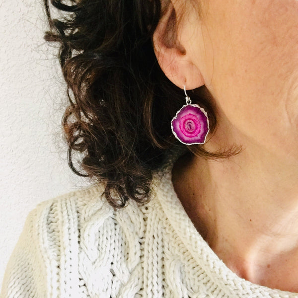 Fuschia Pink Solar Druzy Quartz Earrings Sterling Silver Ear Wire