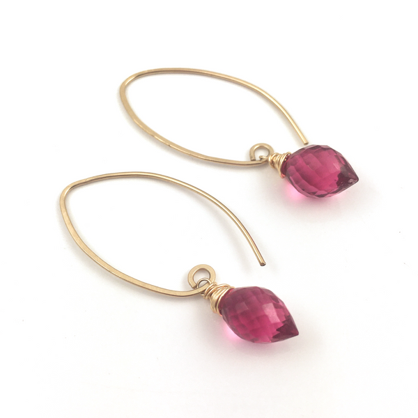 Rubellite Pink Quartz Gold Filled Earrings - Sienna Grace Jewelry