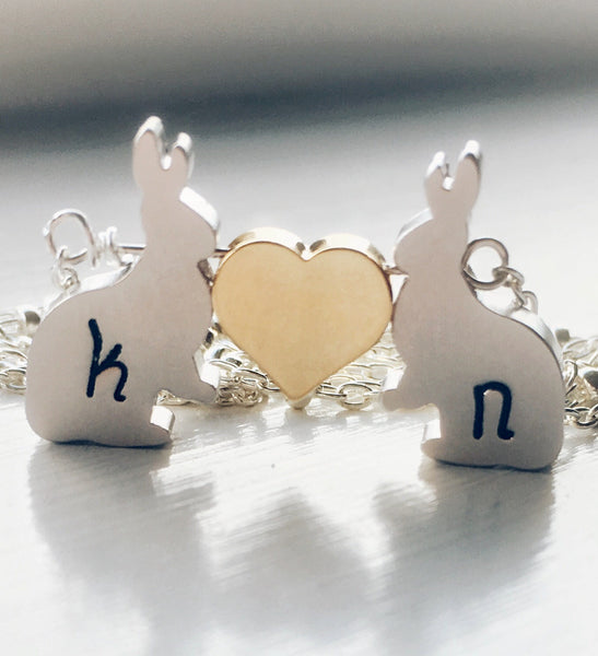 Love Bunnies Necklace Rabbits Nature Woodland Jewelry - Sienna Grace Jewelry | Pretty Little Handcrafted Sparkles