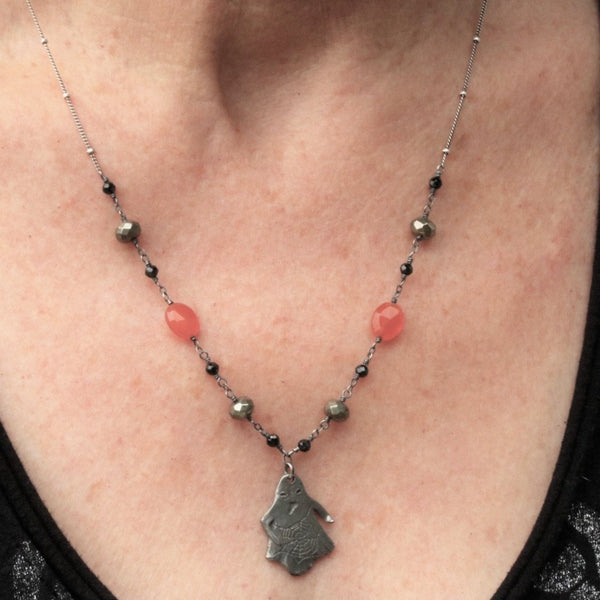 Halloween Pewter Ghost Necklace Gemstone Chain  - Sienna Grace Jewelry