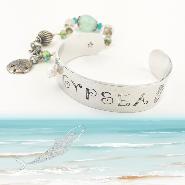 Mermaid Aluminum Adjustable Cuff Bracelet Gypsea Beach Lover Ocean Inspired - Sienna Grace Jewelry | Pretty Little Handcrafted Sparkles