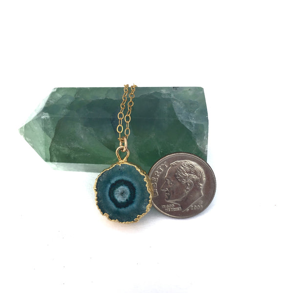 Green and Teal Solar Quartz Pendant Gold - Sienna Grace Jewelry