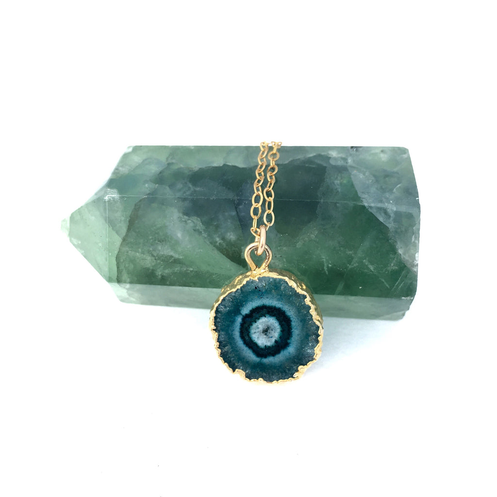 Green and Teal Solar Quartz Pendant - Sienna Grace Jewelry | Pretty Little Handcrafted Sparkles