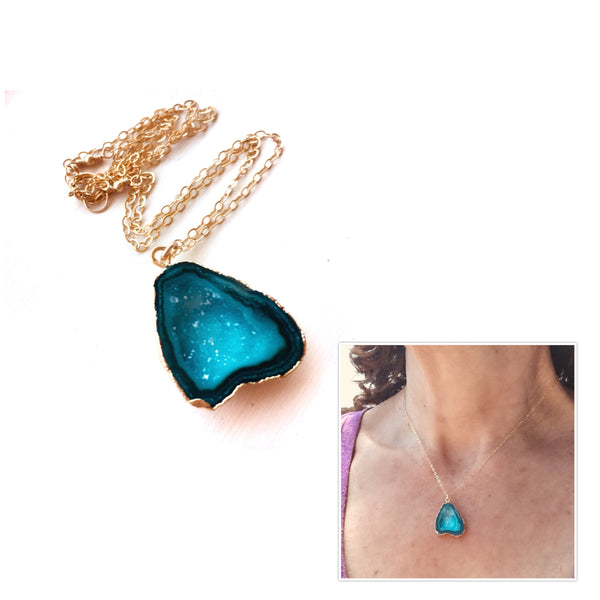 Druzy Necklace Blue Green 14 k Gold Filled Chain - Sienna Grace Jewelry