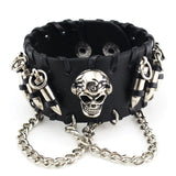 Unisex Skull-and-Bullets Wrist Cuff With Chains