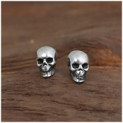 Men's Silver Skull Stud Earrings