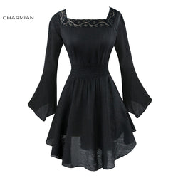 Women's Flare Sleeve Black Mini Dress