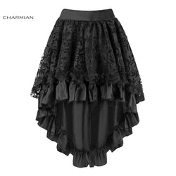 Romantic Hi-Low Black Lace Victorian Skirt