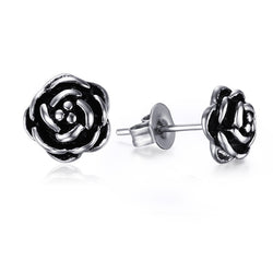 Ladies Antiqued Silver Rose Studs