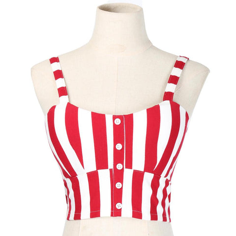 Striped Steampunk Crop Tank - Red or Black