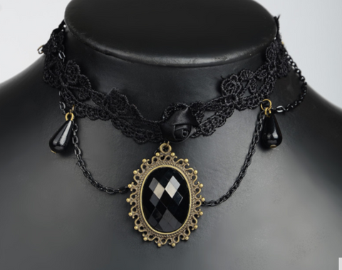 "Goth Lace Choker With Black ""Opal"""