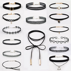 15 Piece Black Velvet Choker Set
